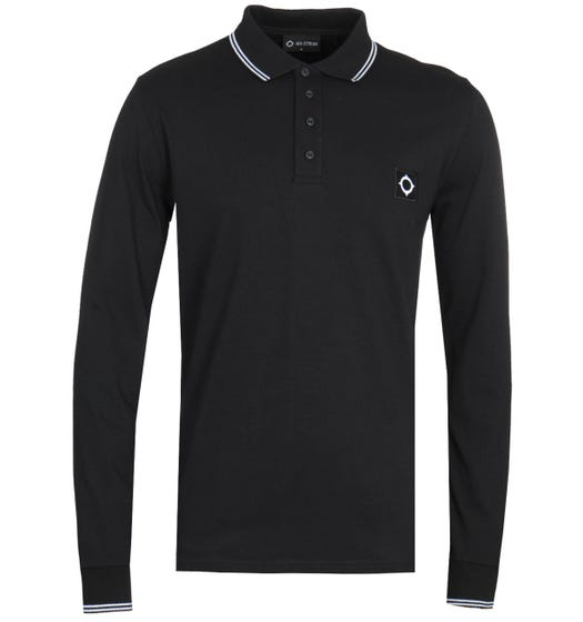MA.Strum Long Sleeve Icon Jersey Black Polo Shirt