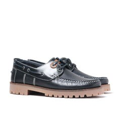 Barbour Stern Smooth Leather Navy Boat Shoes