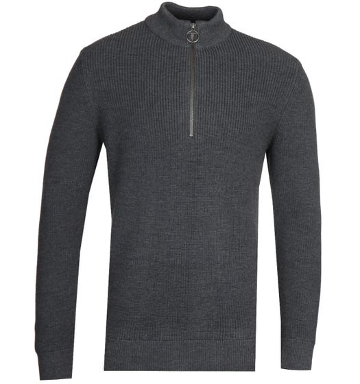 Barbour x Norse Projects Quarter Zip Grey Marl Sweater