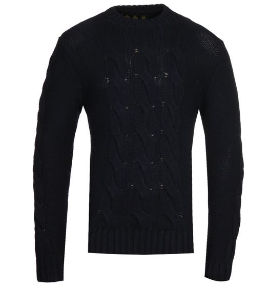 Barbour Gold Standard Lennox Navy Cable Knit Sweatshirt