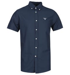 Barbour Tailored Fit Short Sleeve Navy Oxford Shirt