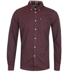 Barbour Herringbone Tailored Red Long Sleeve Shirt