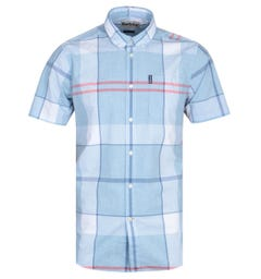 Barbour Croft Checked Ocean Sky Blue Short Sleeve Shirt