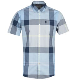 Barbour Croft Checked Ocean Blue Short Sleeve Shirt