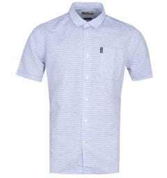 Barbour Linen Mix Short Sleeve Sky Blue Stripe Shirt