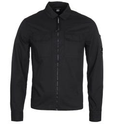 CP Company Full Zip Pocket Black Long Sleeve Shirt