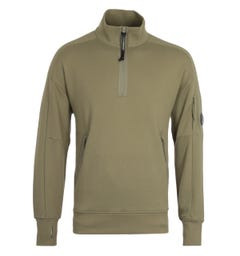 CP Company Diagonal Raised Fleece Quarter Zip Lens Olive Sweatshirt