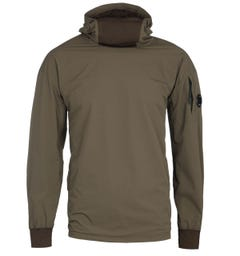 CP Company Pop Over Nylon Dark Olive Hoodie