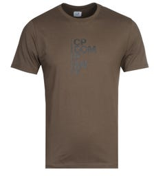 CP Company Rubberized Logo Print Green T-Shirt