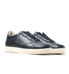 Armani Exchange Perforated Blue Leather Trainers