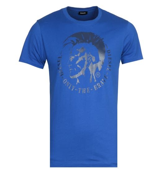 Diesel Head Logo Blue T-Shirt