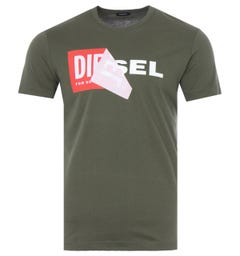 Diesel T-Diego Double Logo T-Shirt - Olive