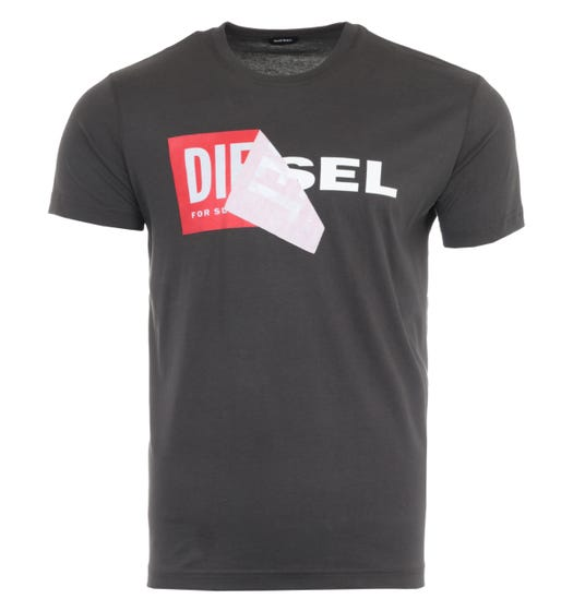 Diesel T-Diego Double Logo T-Shirt - Charcoal
