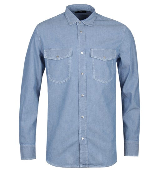 Diesel Rooke Blue Chambray Work Shirt