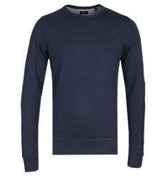 Diesel S-Willard Navy Ribbed Crew Neck Sweatshirt