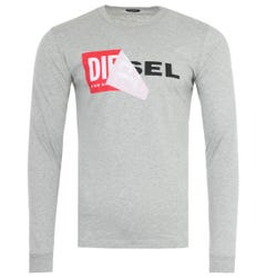 Diesel T-Diego Double Logo Long Sleeve T-Shirt - Grey
