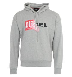 Diesel S-Alby Double Logo Hooded Sweatshirt - Grey