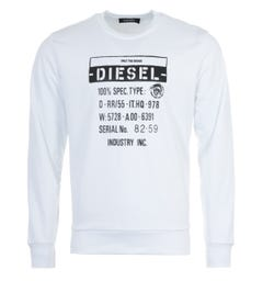 Diesel S-Girk Only The Brave Spec Sweatshirt - White