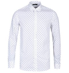 Diesel S-Folk Camicia Star Pattern White Long Sleeve Shirt