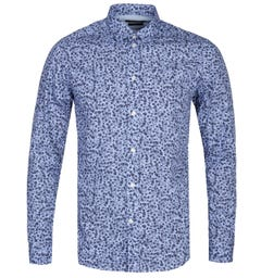 Diesel S-Blu Camicia Slim Fit Skull Print Blue & Black Long Sleeve Shirt