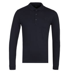 Diesel T-Kalar Long Sleeve Navy Polo Shirt