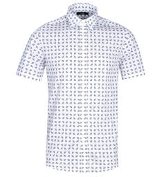 Diesel S-Akura Short Sleeve Contrast Pattern White Shirt