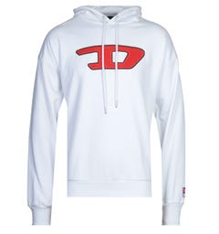 Diesel Large Chest Logo White Hoodie