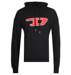Diesel Large Chest Logo Black Hoodie