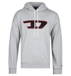 Diesel Large Chest Logo Grey Marl Hoodie