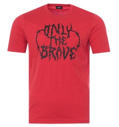 Diesel T-Just Barbed Wire Only The Brave T-Shirt - Red
