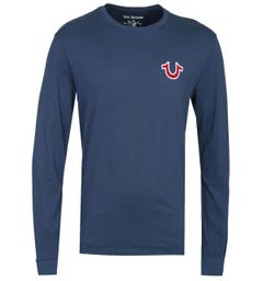 True Religion Long Sleeve Horseshoe Logo Navy T-Shirt