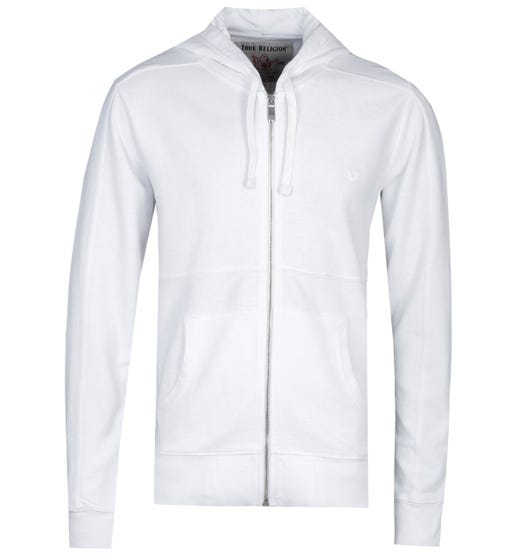 True Religion Inside Out Panel Zip-Through White Hoodie