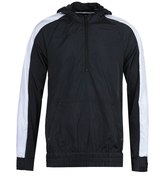 True Religion Half-Zip Black & White Hooded Windbreaker