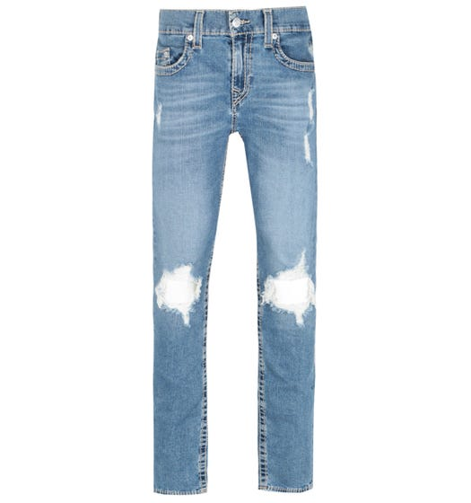 True Religion Rocco Skinny Fit Distressed Detailing Blue Denim Jeans