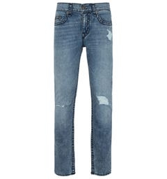 True Religion Rocco Skinny Fit Distressed Light Blue Denim Jeans