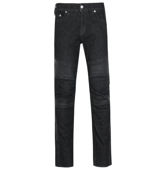 True Religion Rocco Relaxed Skinny Fit Black Moto Denim Jeans