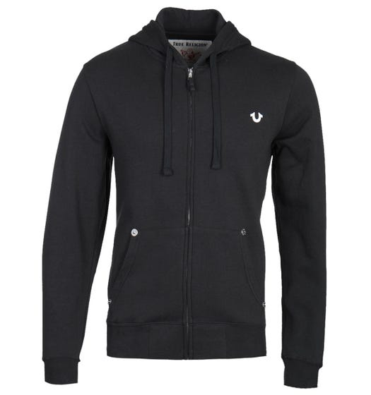 True Religion Classic Logo Zip-Through Black Hoodie