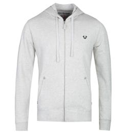 True Religion Classic Logo Zip-Through Light Grey Marl Hoodie