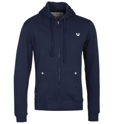 True Religion Classic Logo Zip-Through Navy Hoodie