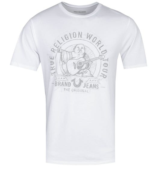 True Religion Sketched Buddha Print White T-Shirt