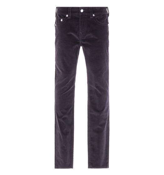 True Religion Rocco Relaxed Skinny Black Corduroy Trousers
