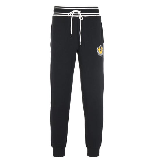 True Religion Collegiate Black Logo Crest Joggers