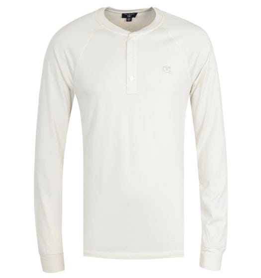 True Religion Embroidery Off White Long Sleeve Henley T-Shirt