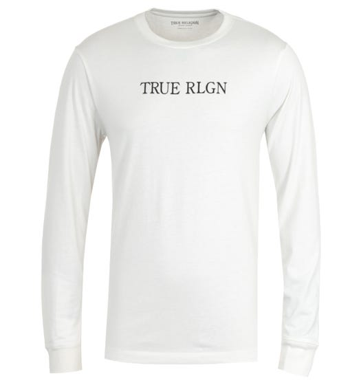 True Religion Typography Long Sleeve Off White T-Shirt