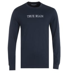 True Religion Typography Long Sleeve Navy T-Shirt