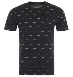 True Religion All Over Arched Crew Neck T-Shirt - Onyx