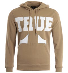 True Religion True Logo Hooded Sweatshirt - Beige