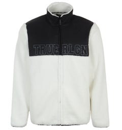 True Religion Colour Block Sherpa Jacket - Black & Natural