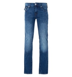 True Religion Ricky Flap Relaxed Straight Fit Jeans - Medium Rinse Blue