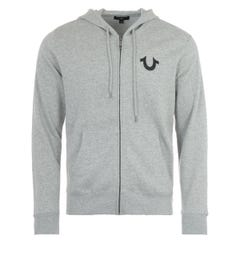 True Religion Zip Up Logo Hooded Sweatshirt - Heather Grey